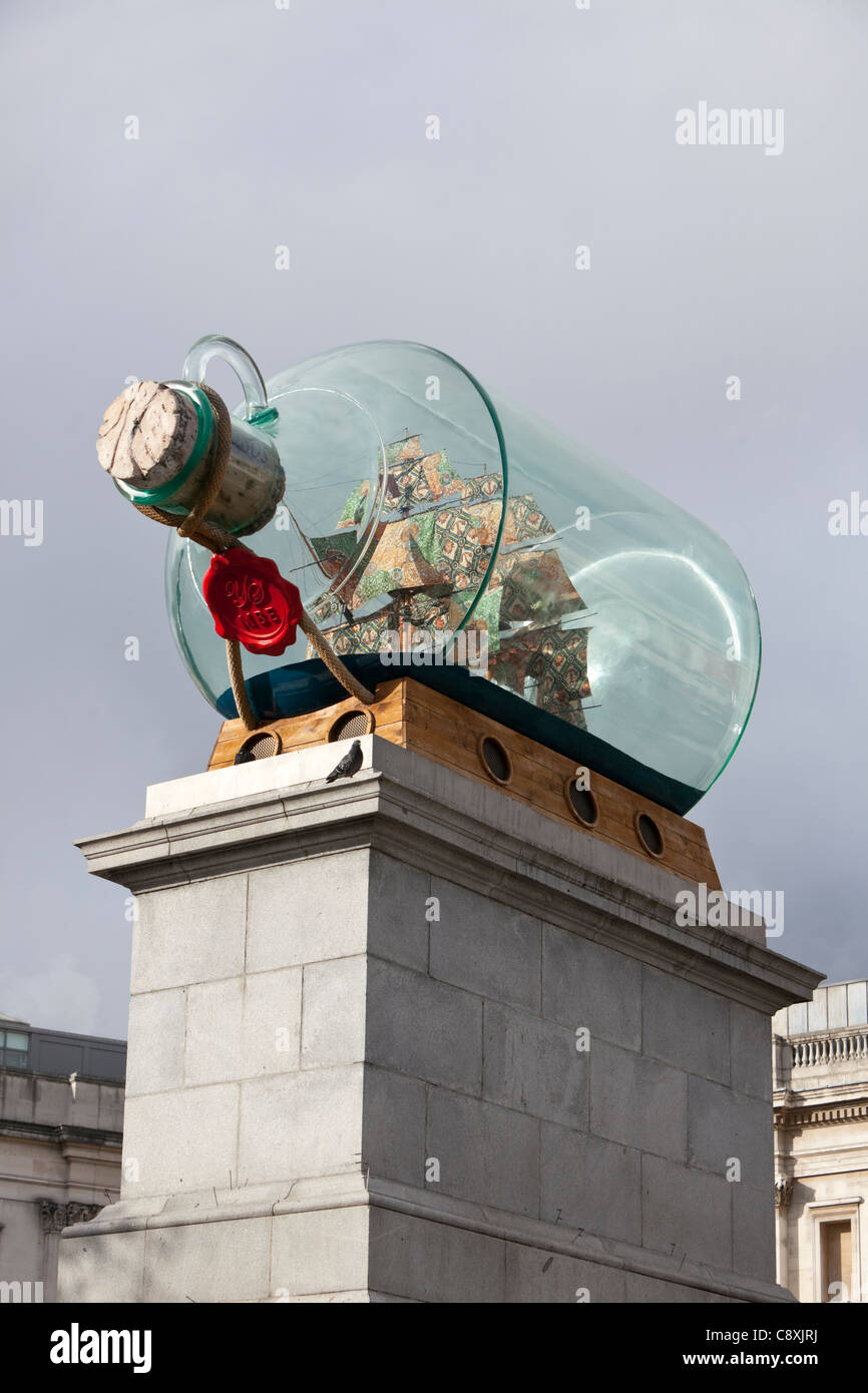(Yinka Shonibare's) Nelson's ship in a bottle on the fourth plinth in Trafalgar Square, London, England, - Stock Image