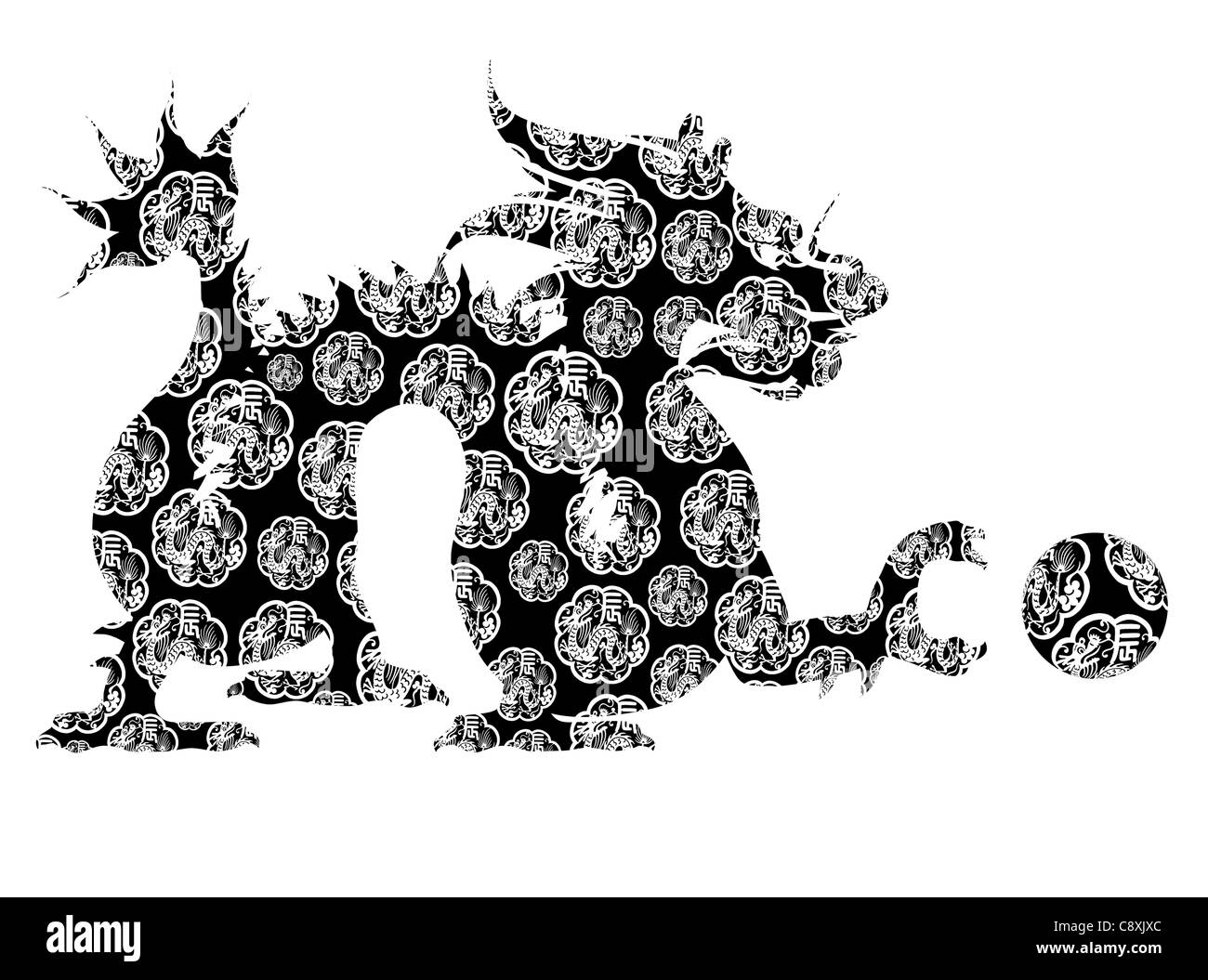 Oriental Ceremonial Abstract Line Art Animal Design