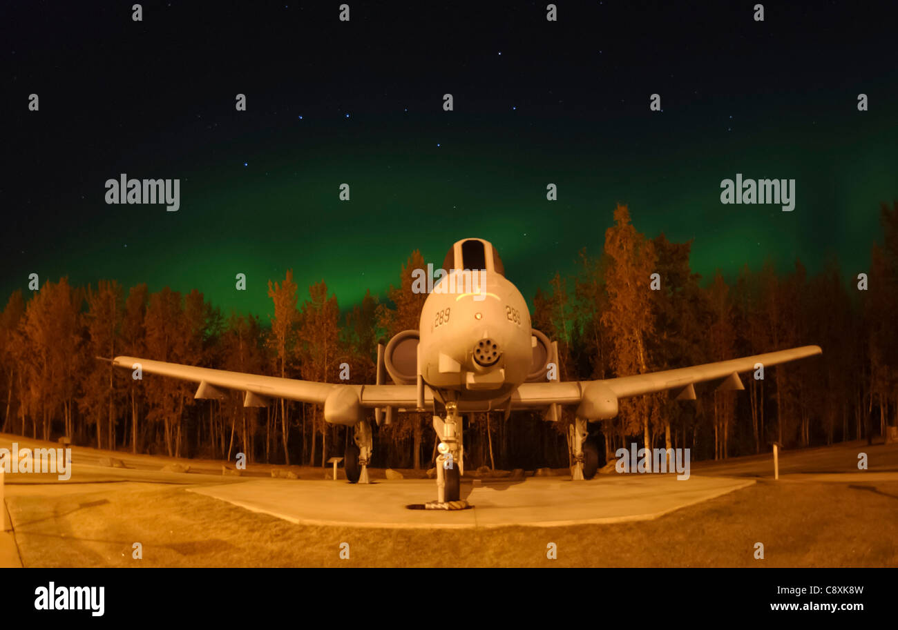 EIELSON AIR FORCE BASE, Alaska -- The Big Dipper constallation and the Aurora Borealis, or Northern Lights, shine - Stock Image