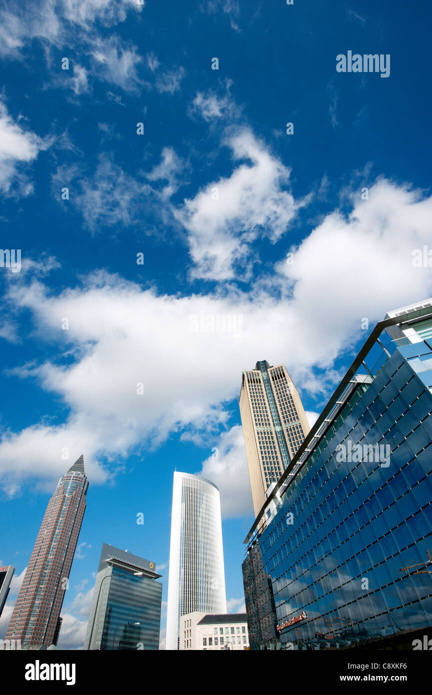 Skyscrapers in Frankfurt, from left, Messeturm tower, twin towers Castor and Pollux and Tower 185, Hesse, Germany, Stock Photo