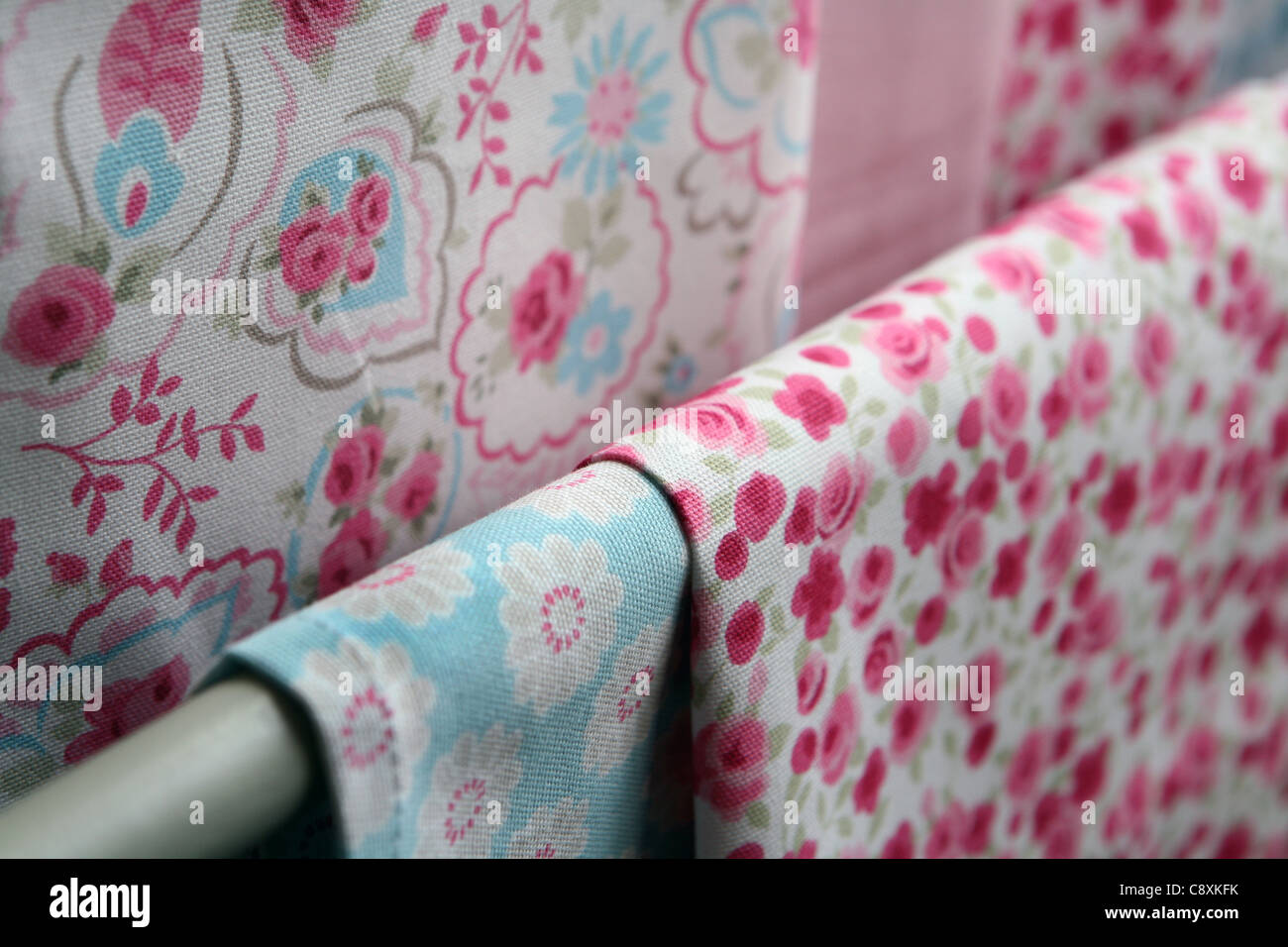 Printed textiles. - Stock Image