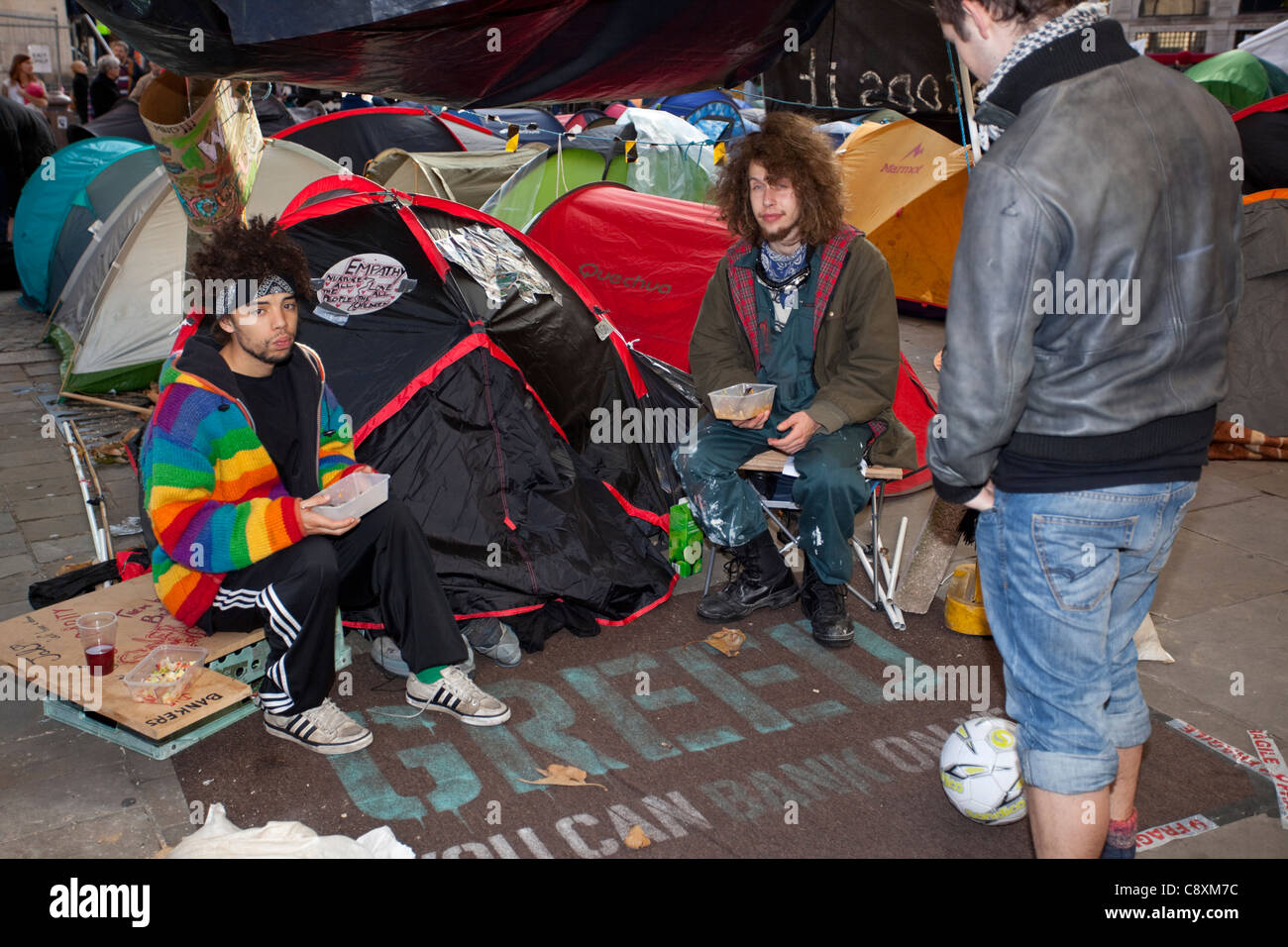 Protesters camping outside St Paul's Cathedral, London, England, UK, GB, 2011 - Stock Image
