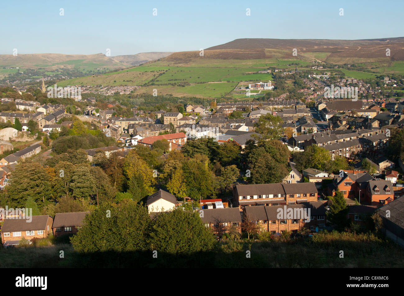 Mossley and the Tame Valley.  Tameside, Greater Manchester, England, UK - Stock Image