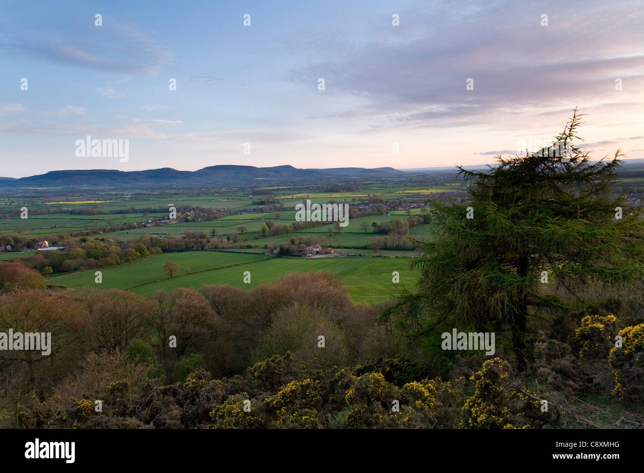 View over the Vale of Cleveland to Hasty Bank North Yorkshire England - Stock Image
