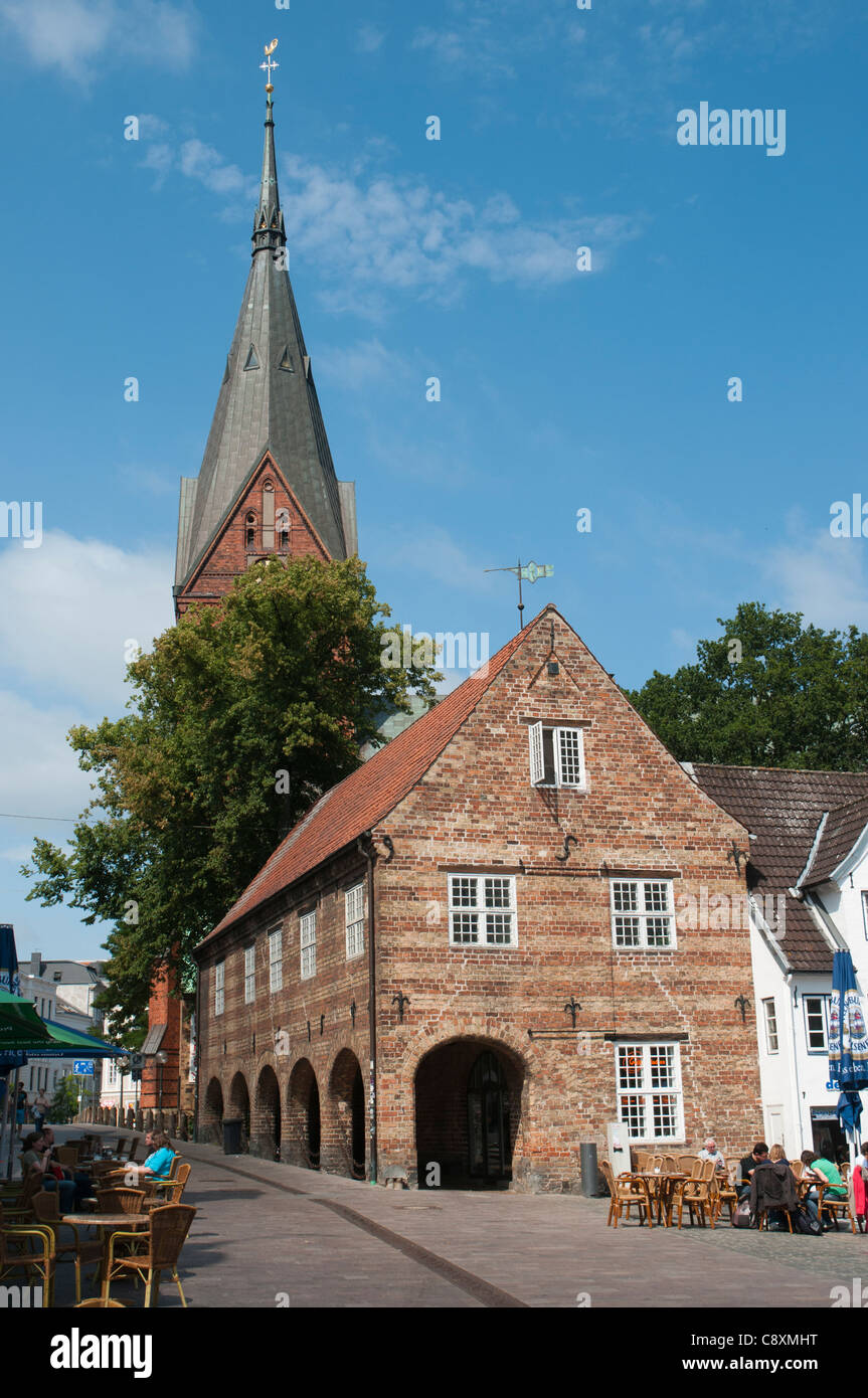 Nordermarkt Flensburg with Virgin Mary´s Church, Flensburg, Flensburg Fjord, Schleswig-Holstein, Germany, Europe - Stock Image