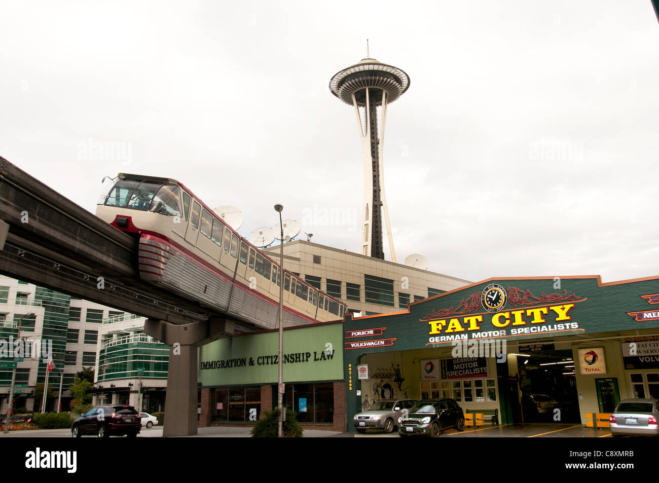 Fat City Garage Fat City Garage Seattle German Motor Specialist EMP and Space Needle Monorail  Seattle Washington - Stock Image