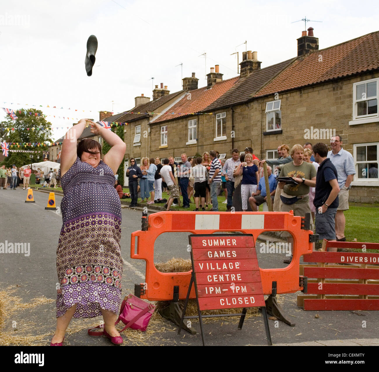 Welly Tossing During Osmotherley Village Summer Games North Yorkshire England Stock Photo