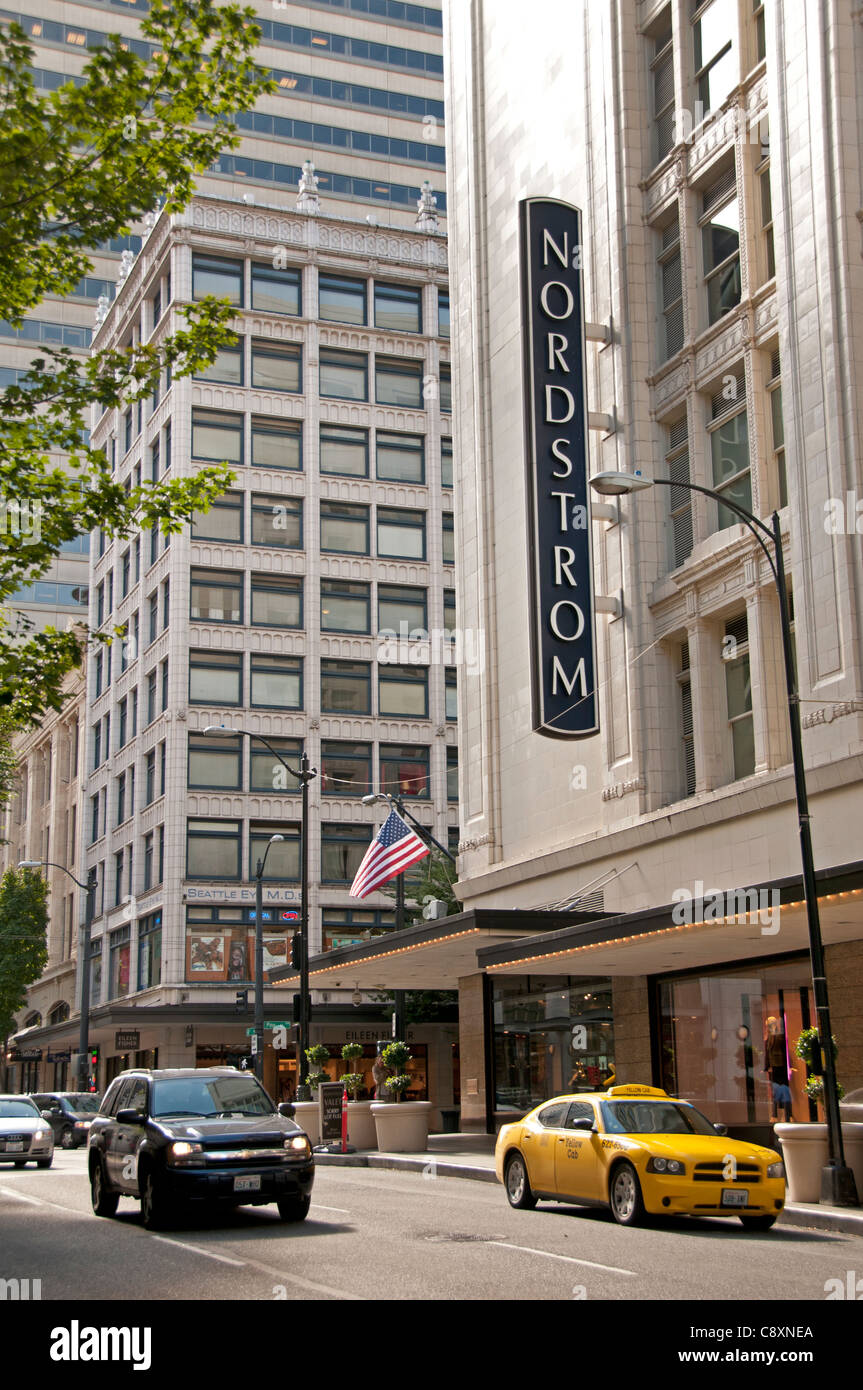 Nordstrom department store Seattle Town City Washington State United States - Stock Image