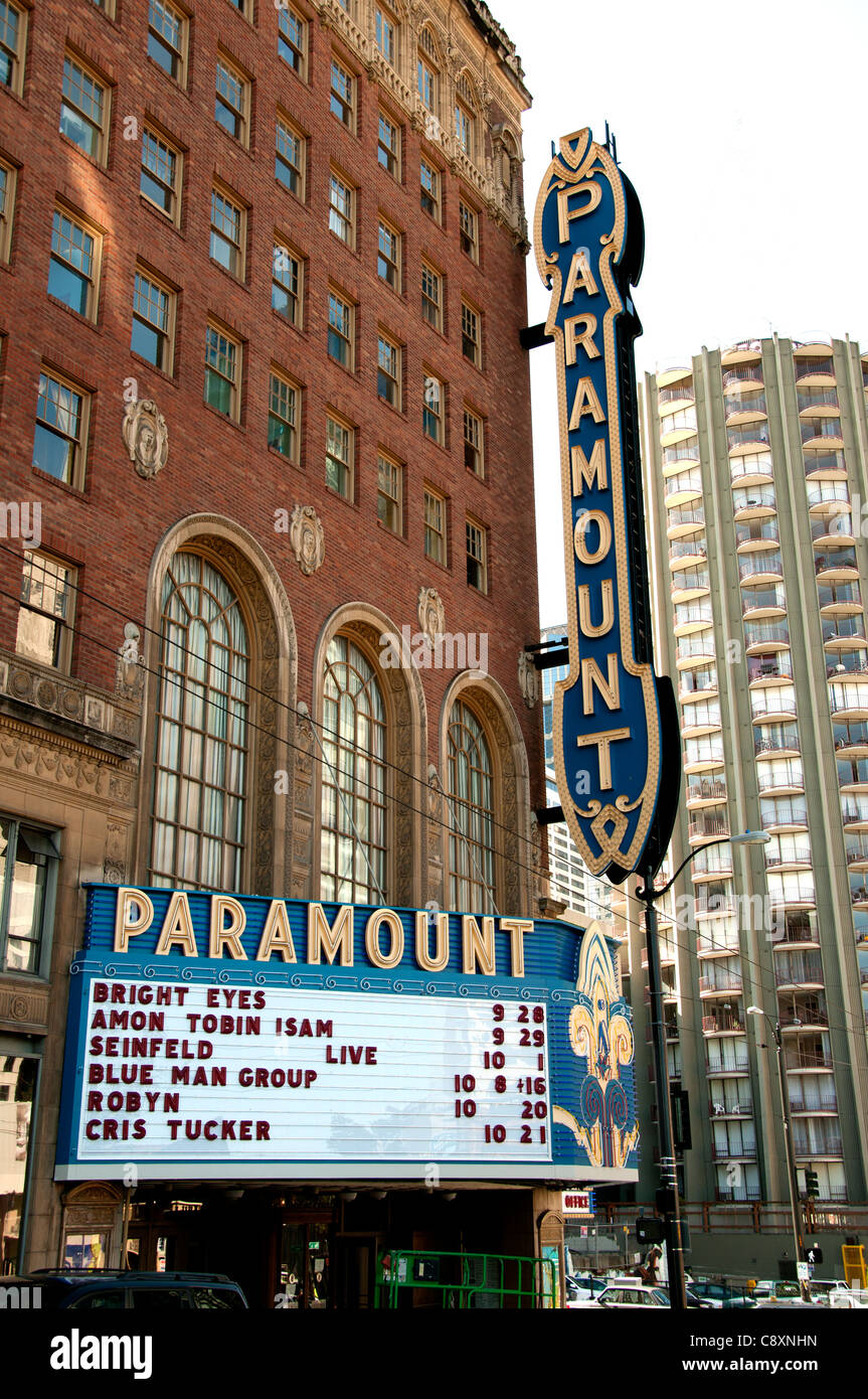 Paramount Movie Theater Seattle Town City Washington State United States of America USA - Stock Image
