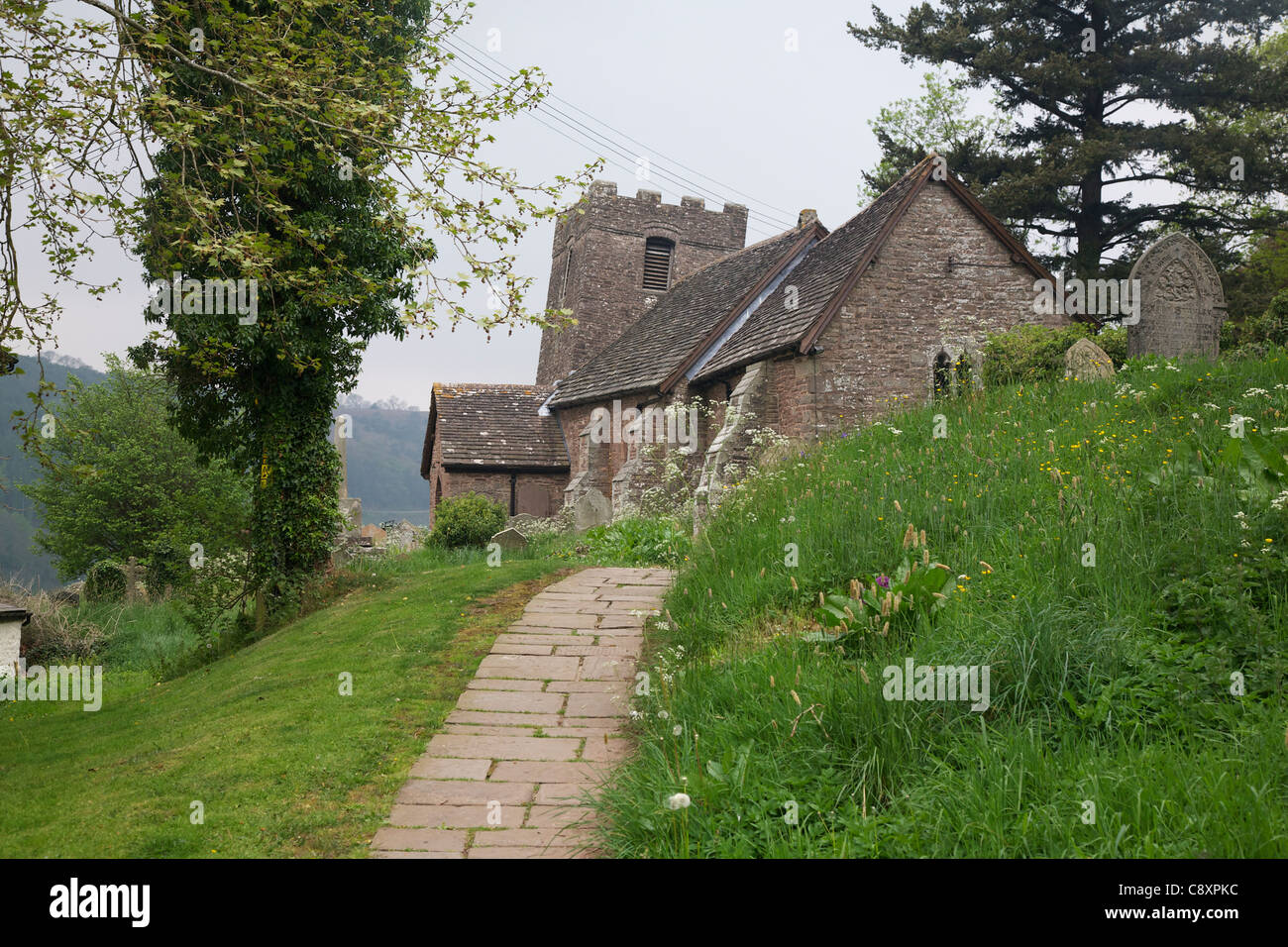 St Martins' Church at Cwmyoy, Vale of Eywas, Black Mountains, Monmouthshire, Wales - Stock Image