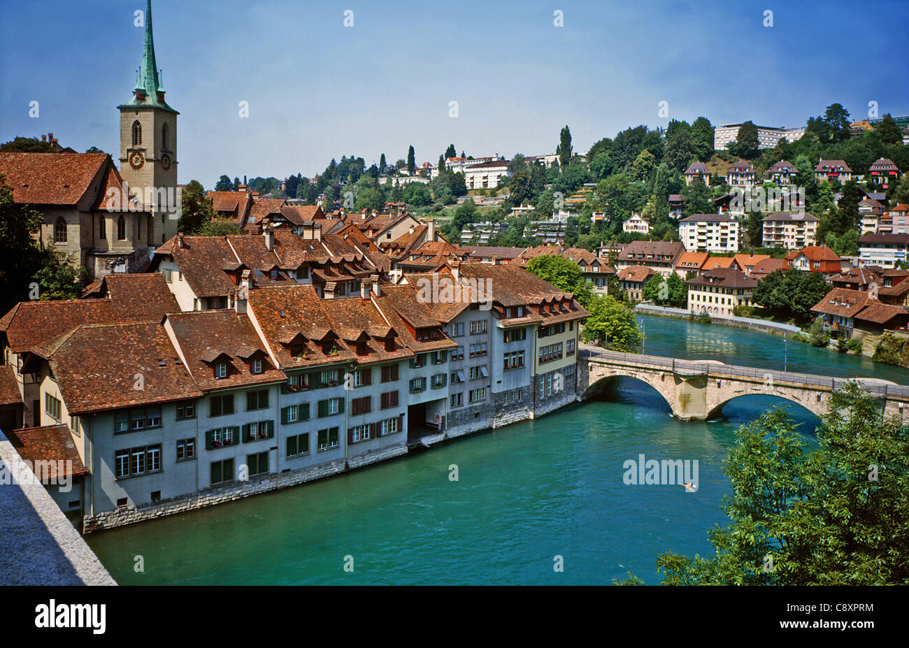 View of Bern from Nydegg-Brucke on the river Aare. - Stock Image