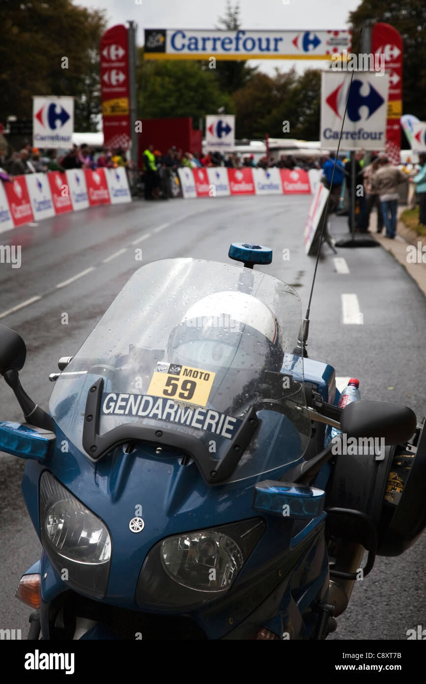 Police Gendarmerie Motorbike on 'Stage 9' Tour de France Cycle Race 2011 from Issoire to Saint Flour at - Stock Image