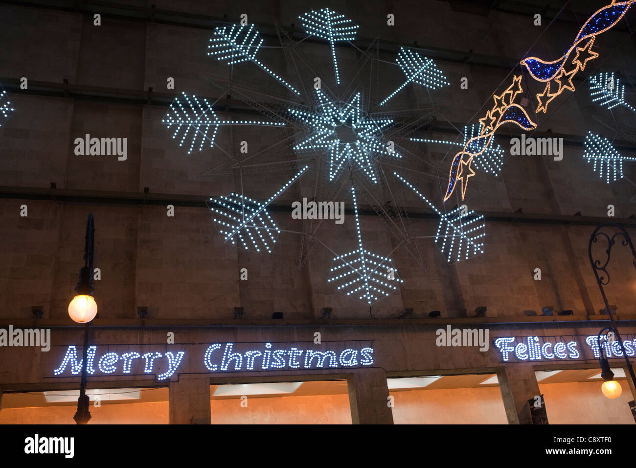 Merry Christmas decorative lights written - Stock Image