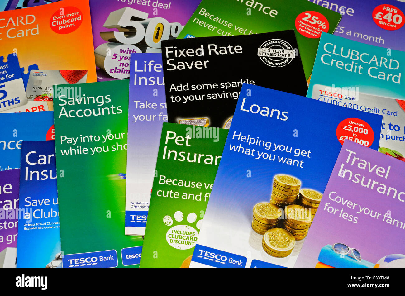 Financial leaflets from Tesco - Stock Image