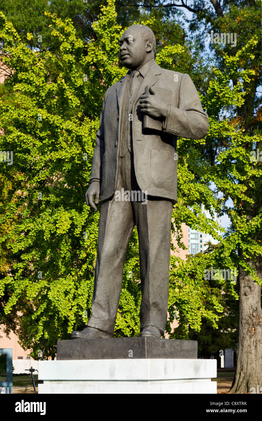 Statue of Reverend Martin Luther King Jr in Kelly Ingram Park, Civil Rights District, Birmingham, Alabama, USA - Stock Image