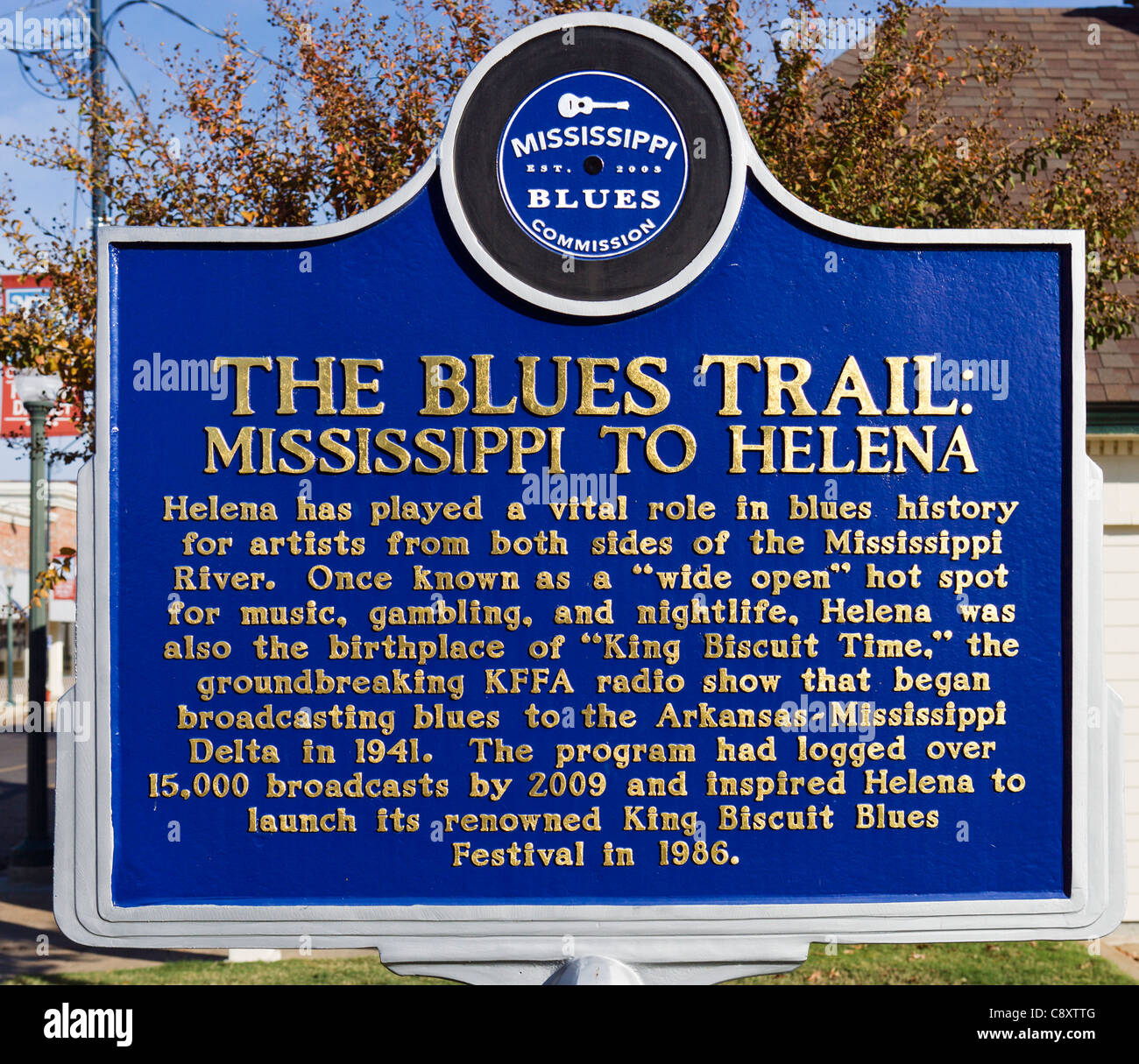 Historic plaque on Cherry Street in downtown Helena, Arkansas, USA - a center of Delta Blues music on the Mississippi - Stock Image