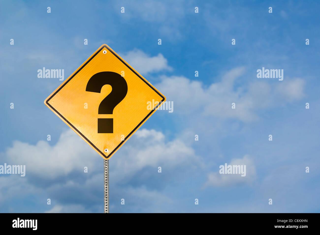 USA, Illinois, Metamora, question mark sign against sky - Stock Image