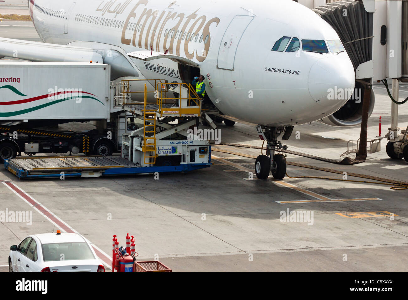 Detail of Airbus A330-200, Dubai International Airport, United Arab Emirates. - Stock Image