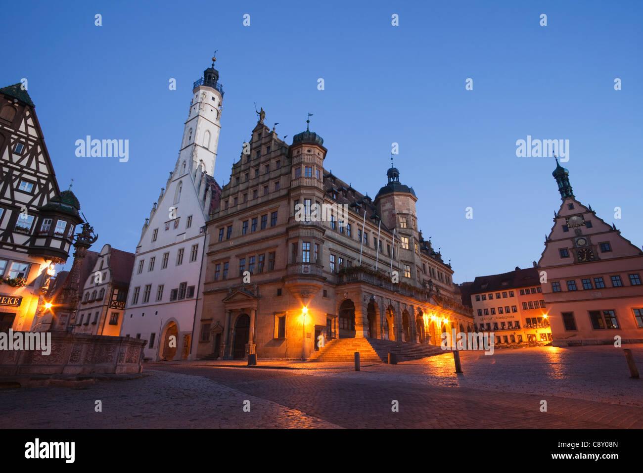 Germany, Bavaria, Romantic Road, Rothenburg ob der Tauber, Rathaus or Town Hall - Stock Image