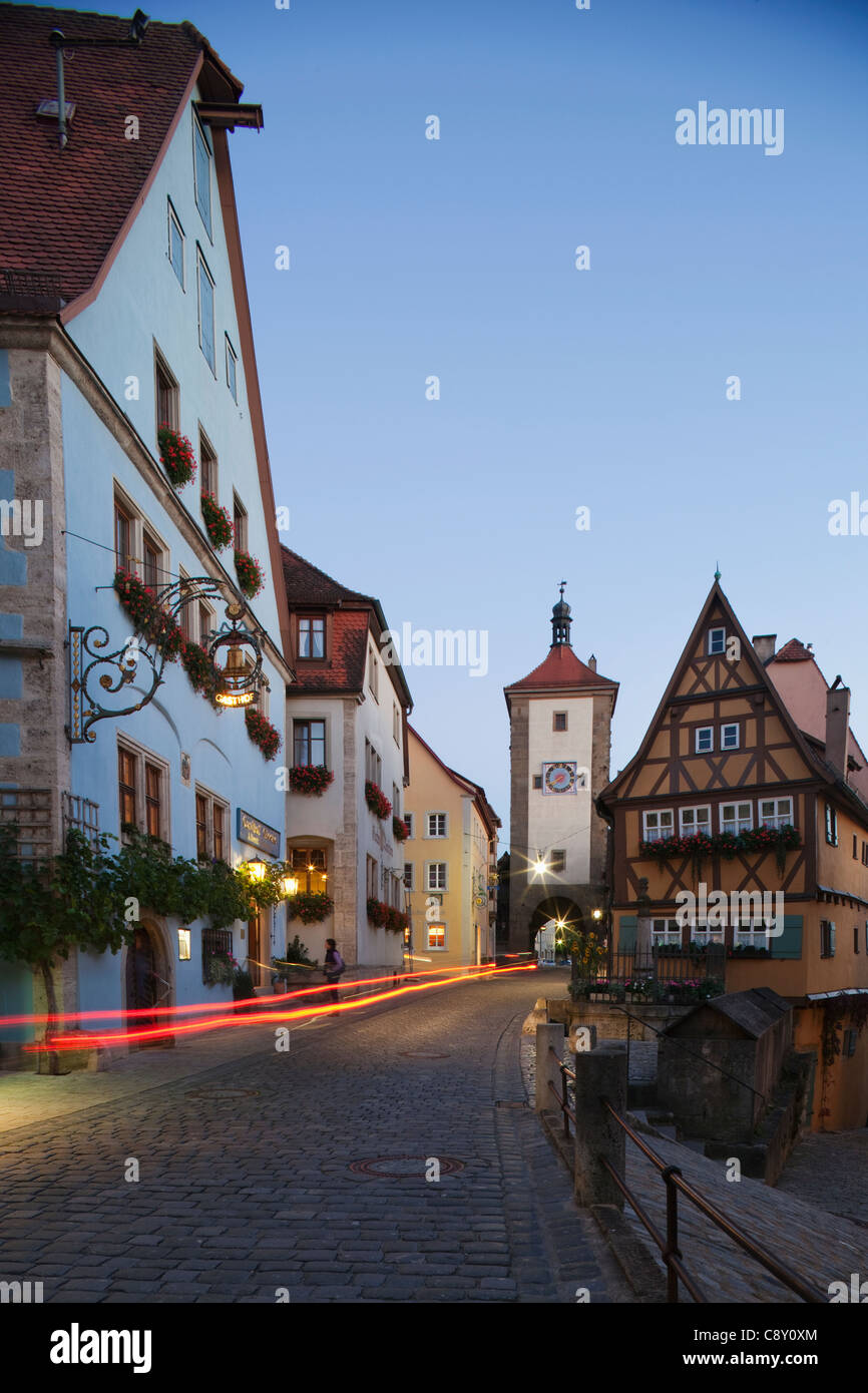 Germany, Bavaria, Romantic Road, Rothenburg ob der Tauber, Plonlein and Siebers Tower Stock Photo
