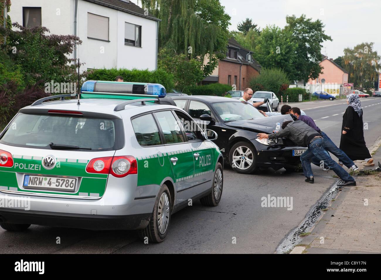Germany, Car Accident Scene near Koln Stock Photo: 39931689