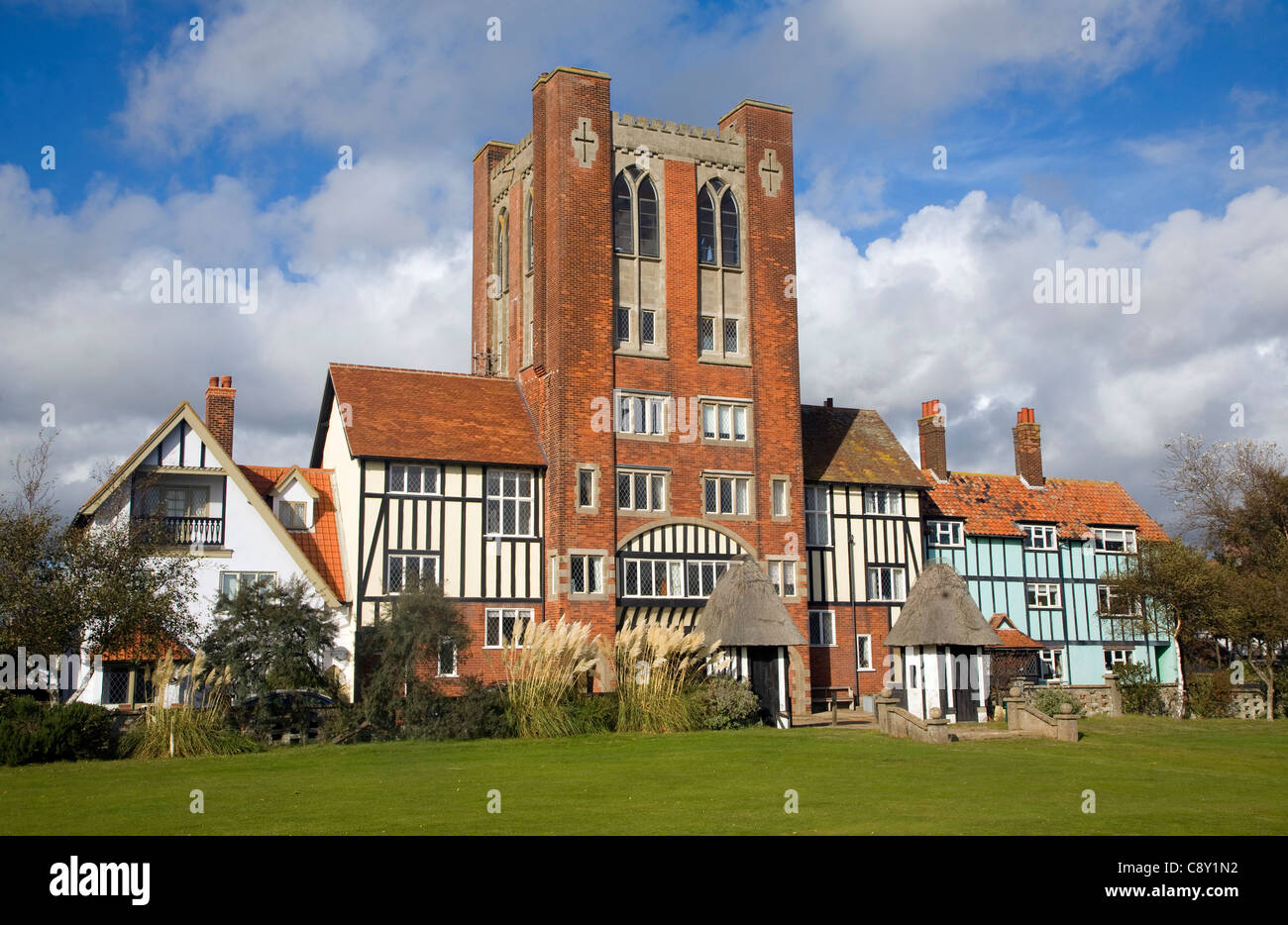 Eccentric mock Tudor architecture of water tower and houses, Thorpeness, Suffolk, England - Stock Image