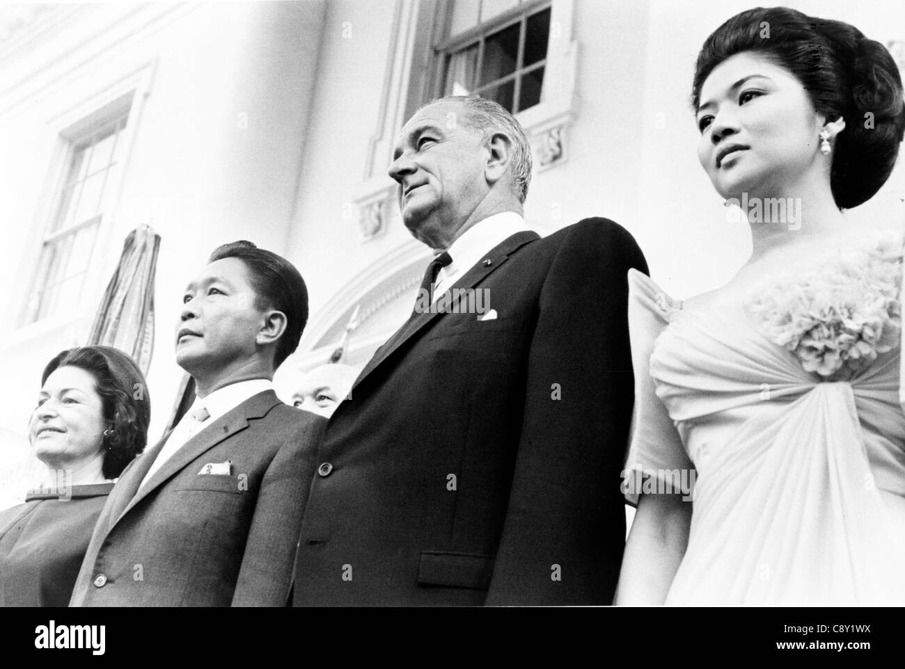 President and Mrs. Lyndon Johnson and President and Mrs. Ferdinand Marcos at the White House - Stock Image