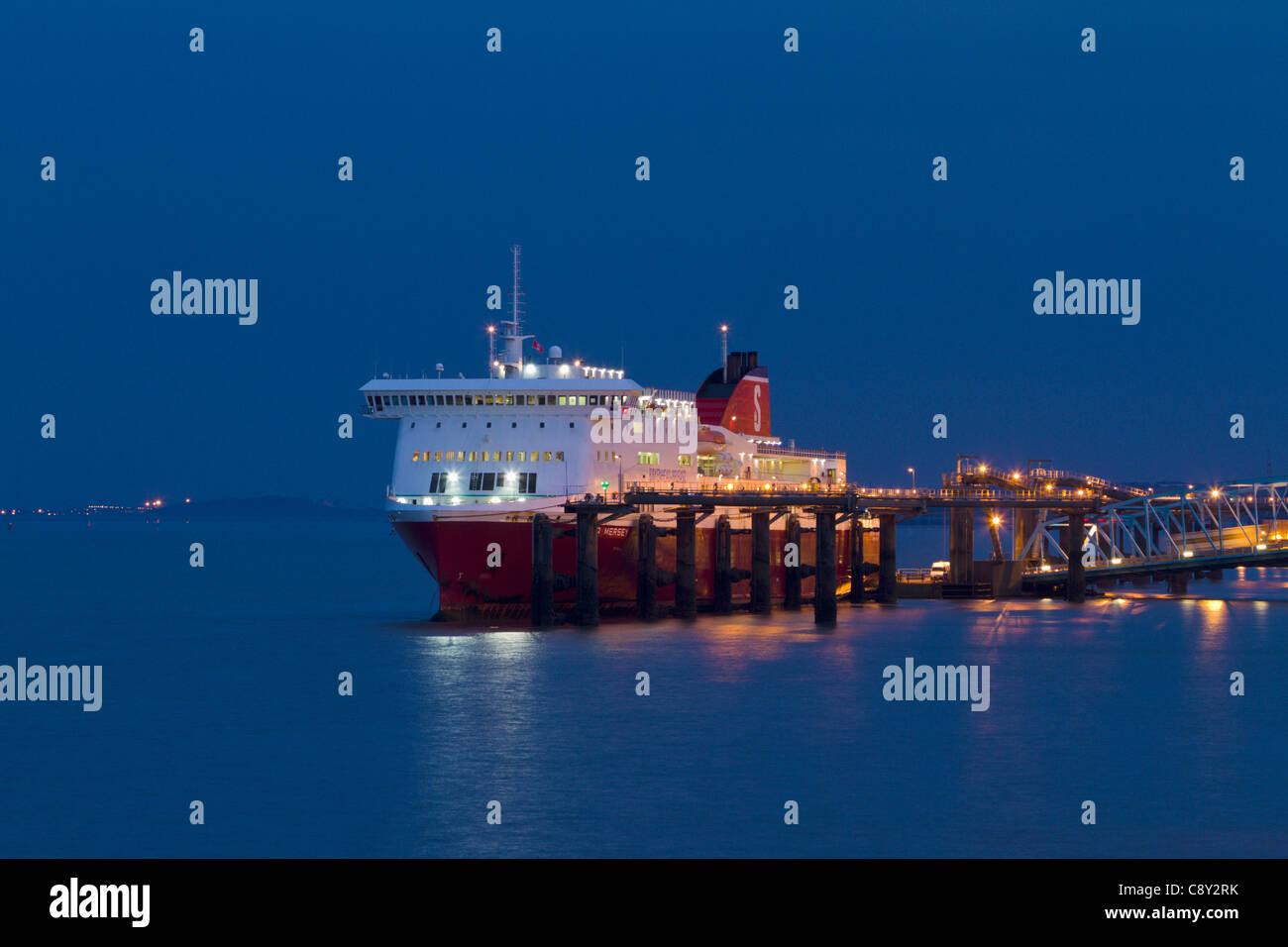 Liverpool to Belfast ferry at Birkenhead - Stock Image