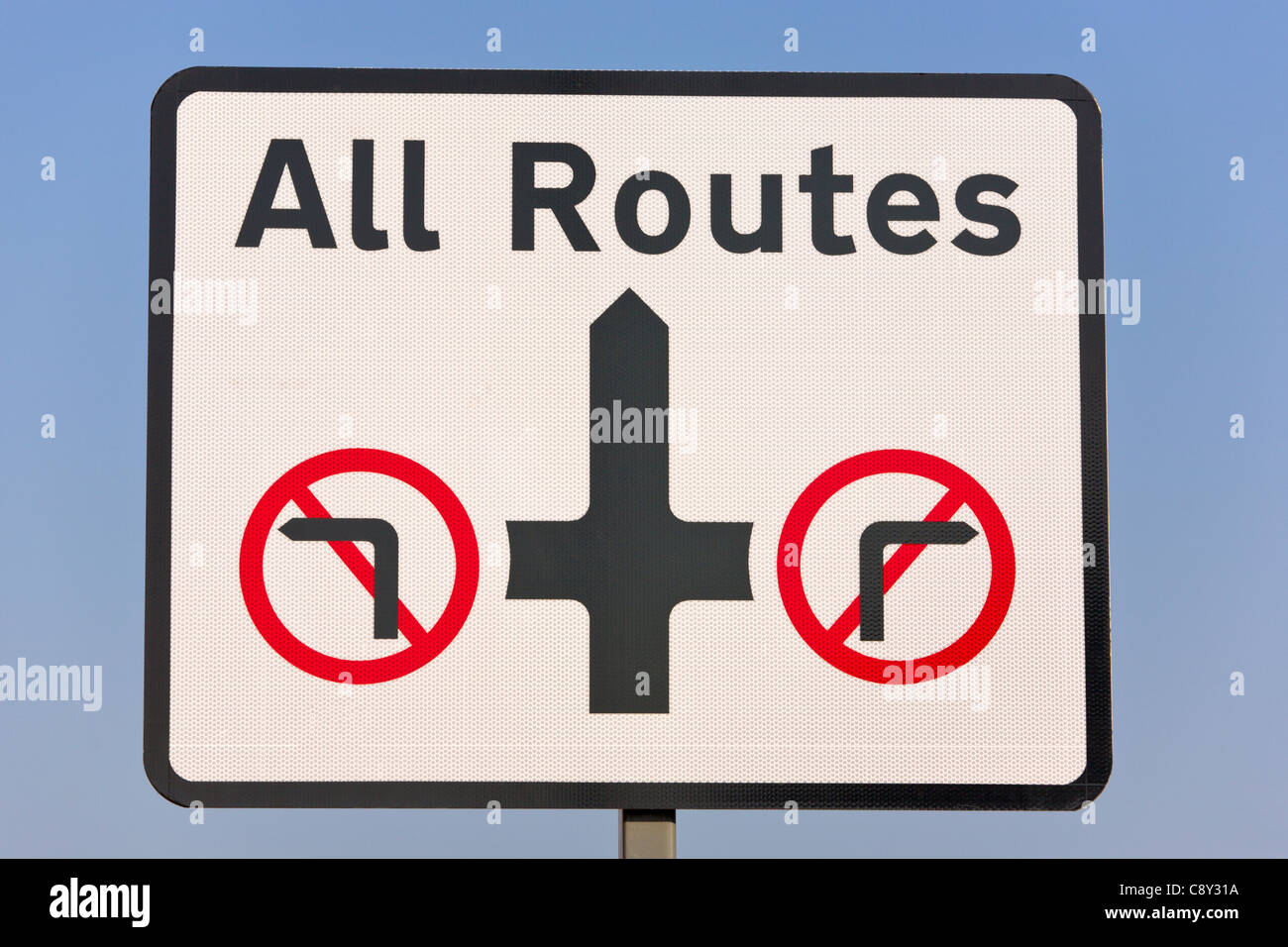 Road sign, all routes, Blackpool, England, UK - Stock Image