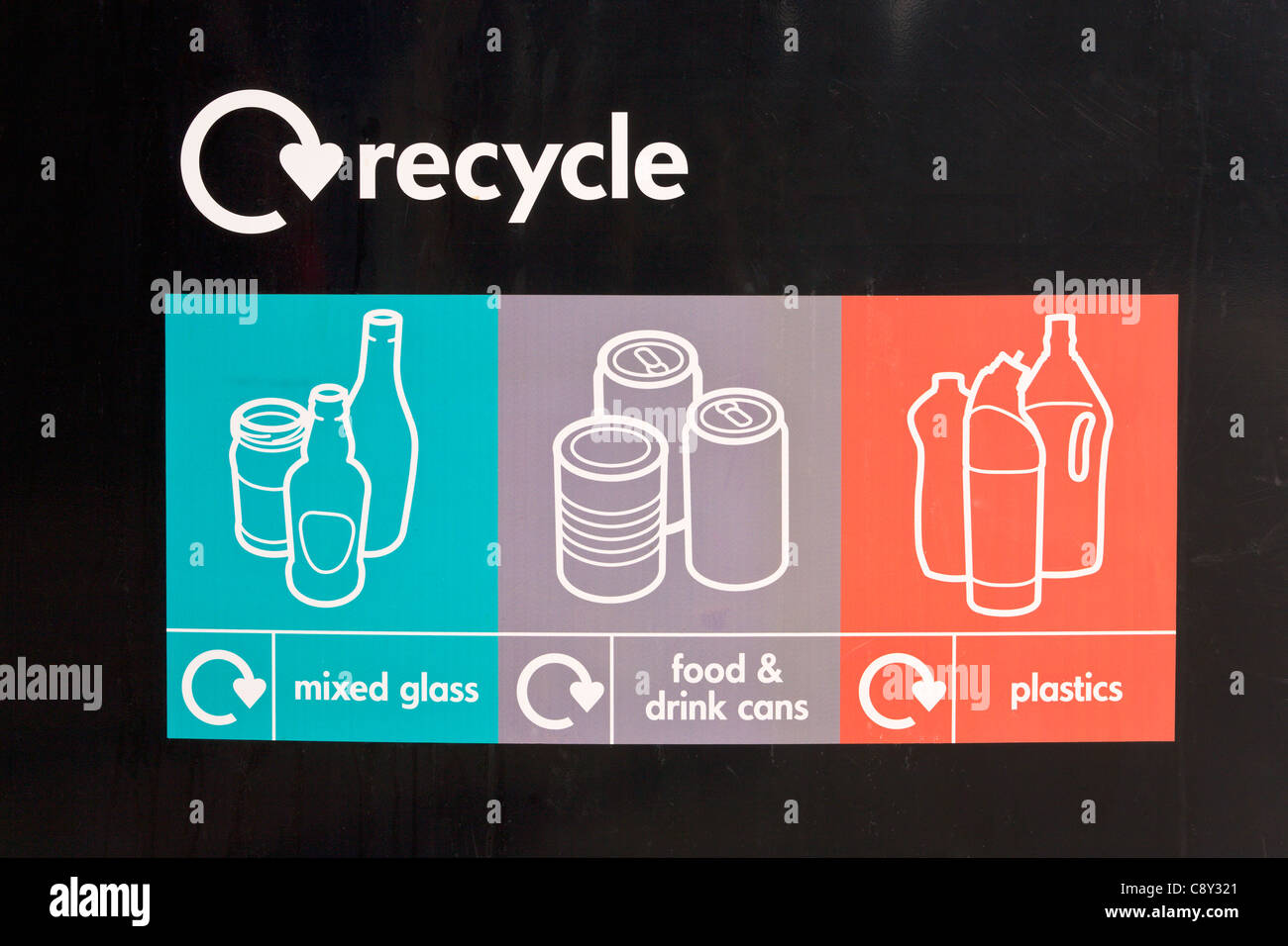 Recycle notice for mixed glass, food and drink cans and plastics - Stock Image