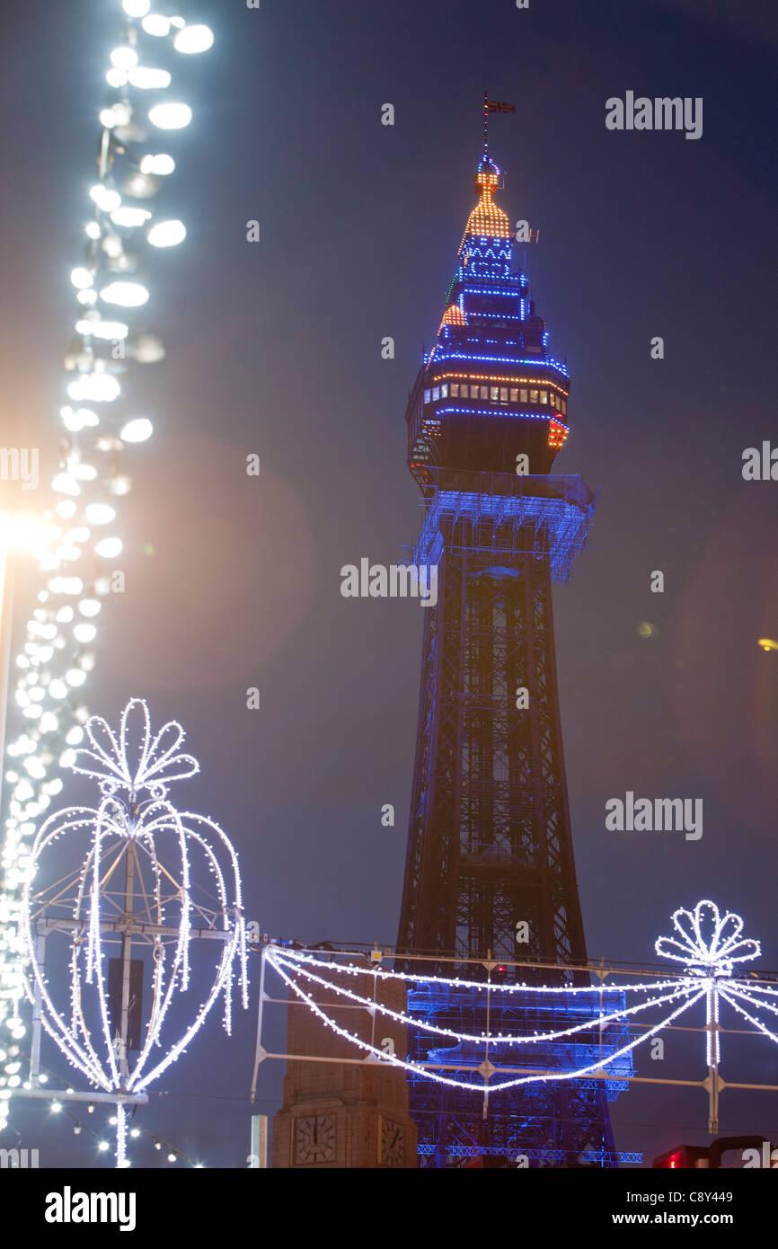 Blackpool Tower illuminated during the annual Blackpool Illuminations, Lancashire, UK. Stock Photo