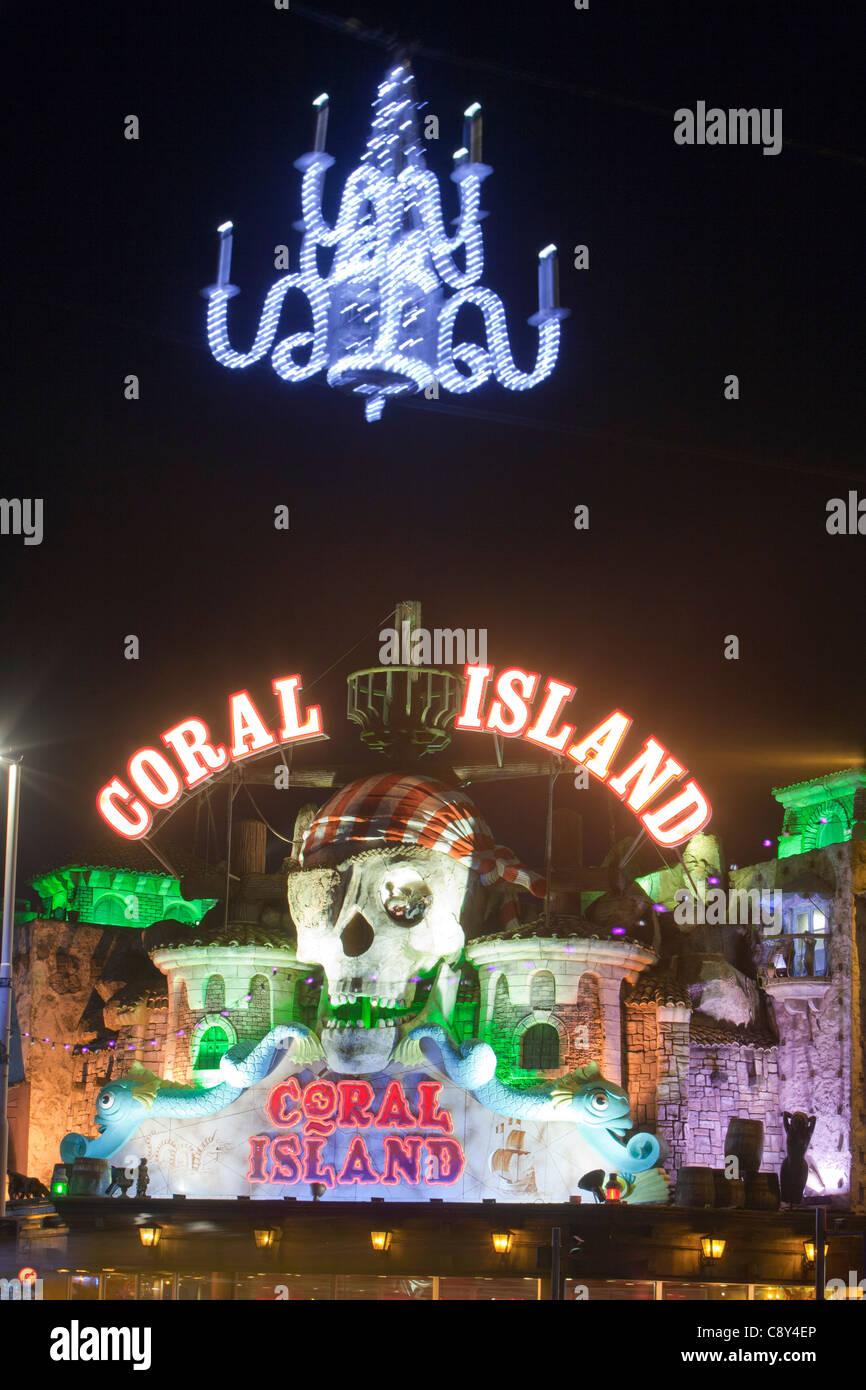Blackpool promenade illuminated during the annual Blackpool Illuminations, Lancashire, UK. Stock Photo