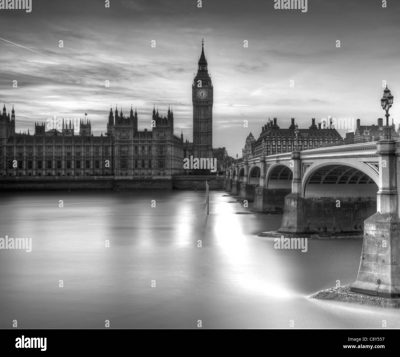 The Houses of Parliament (Palace of Westminster) London, England - Stock Image