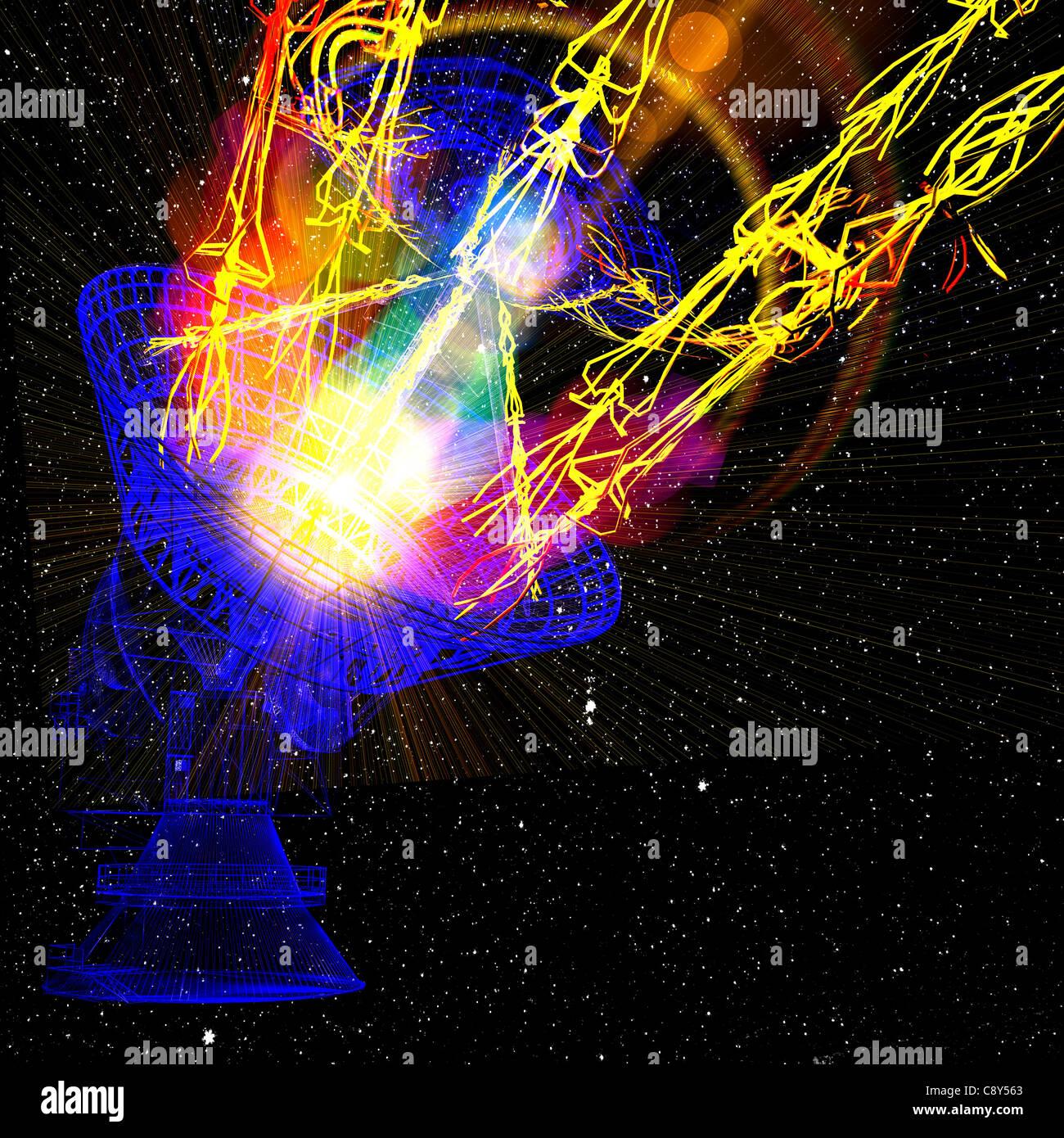 Satelite dish on star sky - Stock Image