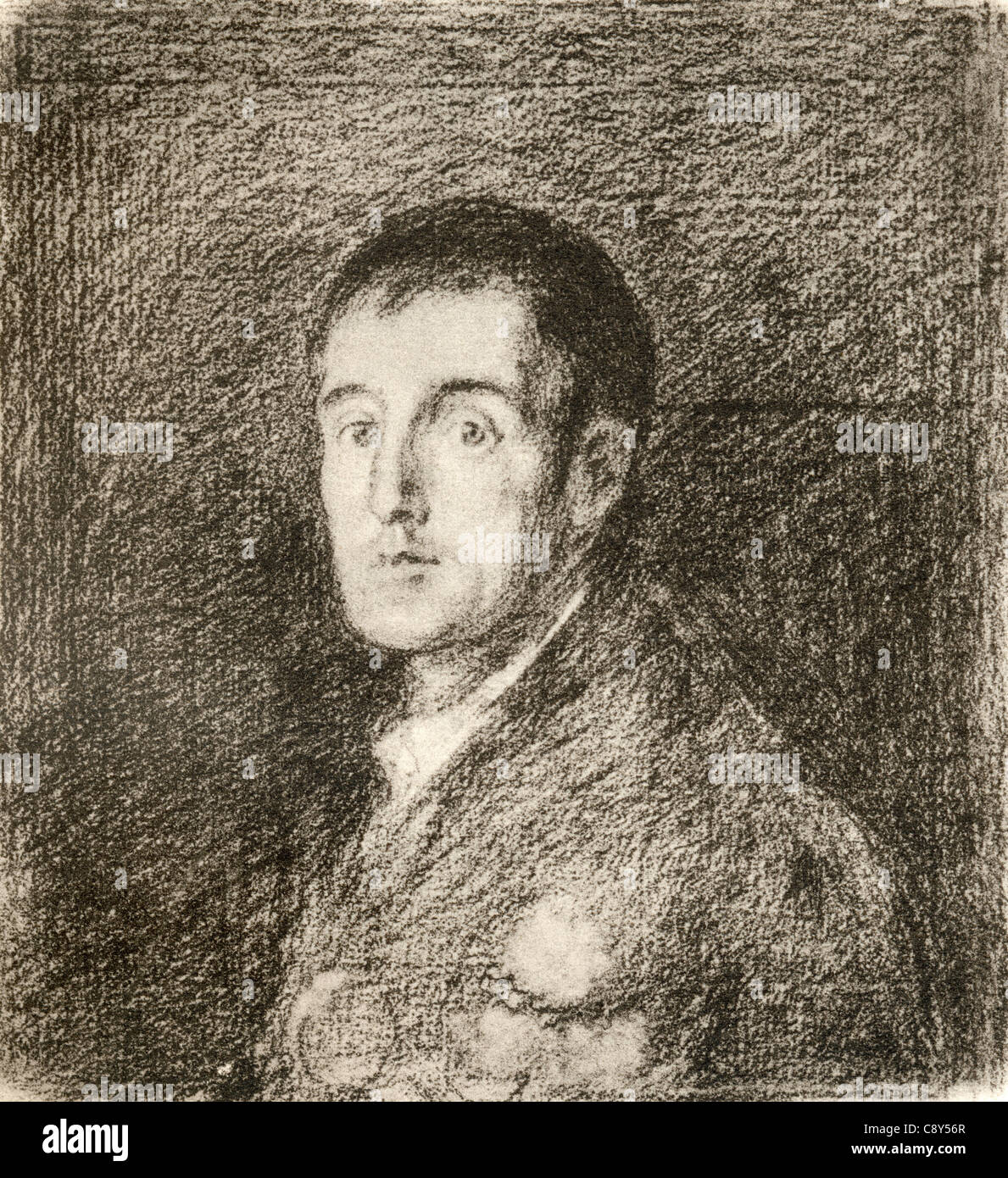 Arthur Wellesley, 1st Duke of Wellington, 1769 - 1852, after the work by Francisco de Goya.   British soldier and - Stock Image