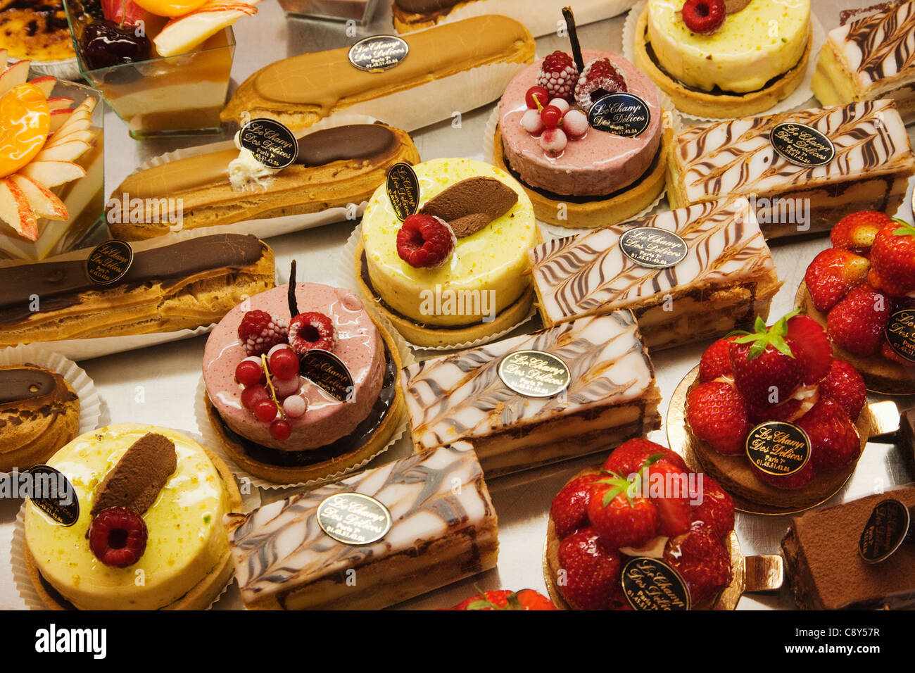 France Paris Pastries Display In Patisserie Shop Window