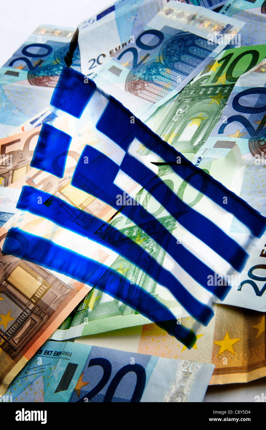 Greece and Greek debt bailout : Euro banknotes and Greek flag, illustration - Stock Image