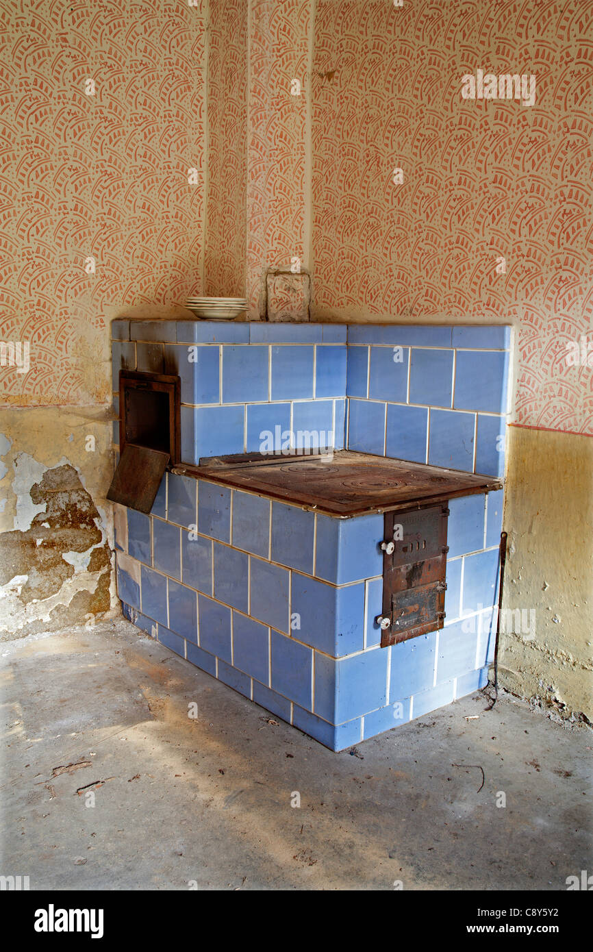 old glazed cooker from Slovakia old house - Stock Image