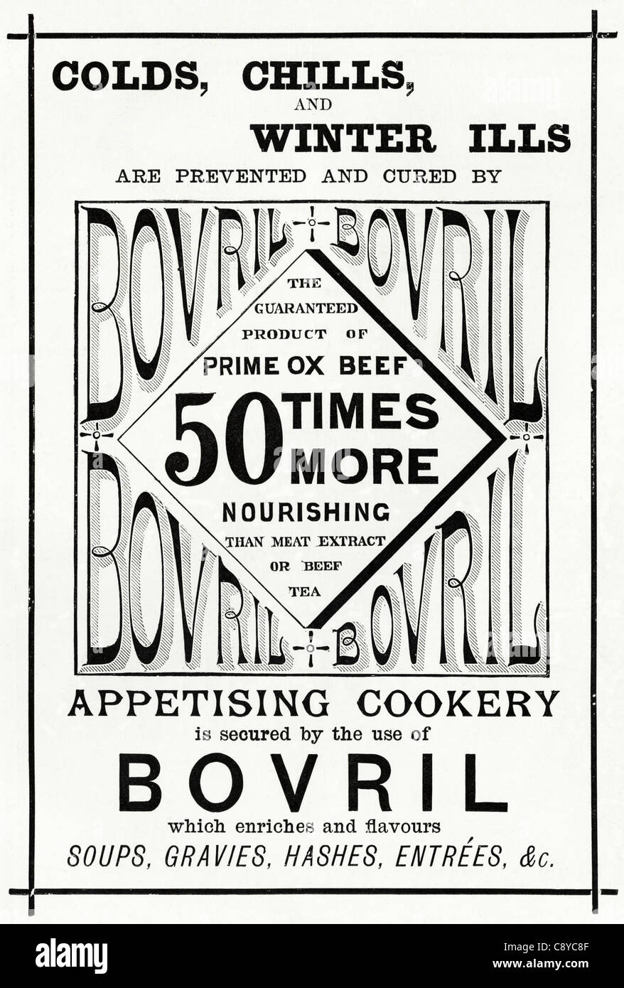 Original Victorian advertisement circa 1892 advertising BOVRIL prime ox beef extract - Stock Image