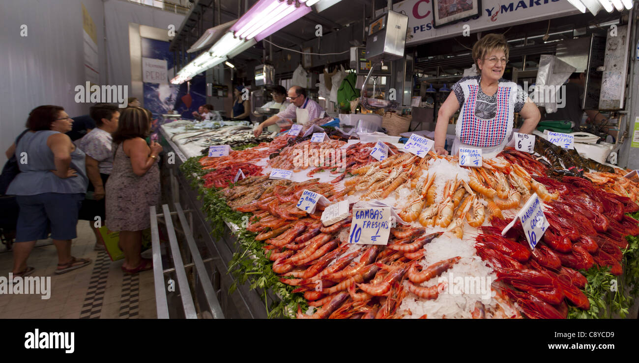 Fresh fish at Central market hall , Mercado Central, Valencia, Spain  - Stock Image