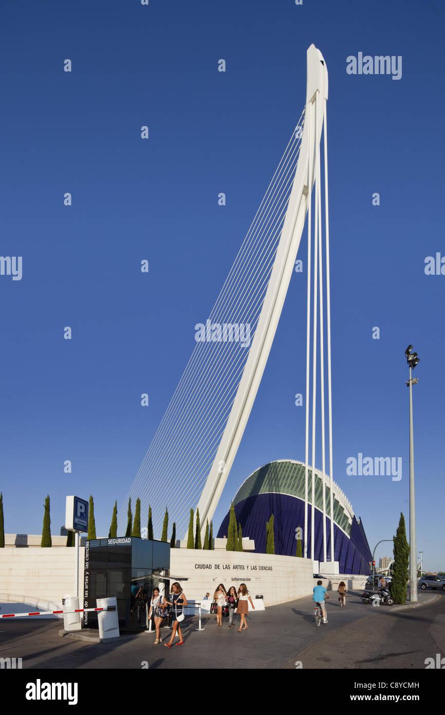 Agora, Puente de l Assut, bridge, City of sciences, Calatrava, Valencia, Spain  Stock Photo
