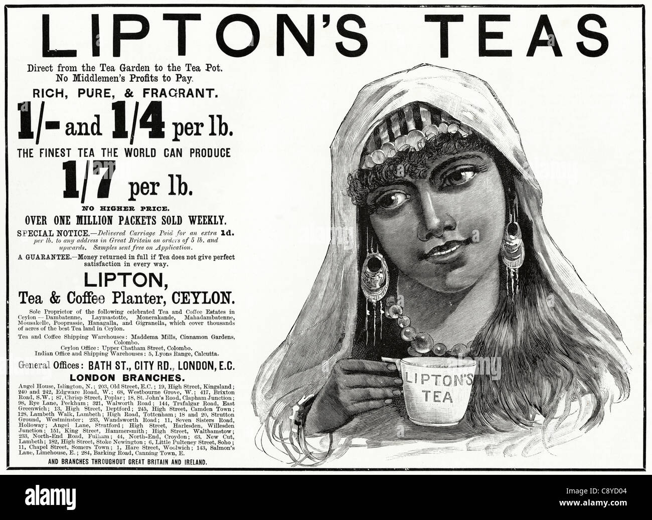 lipton s teas advert original victorian advertisement circa 1892