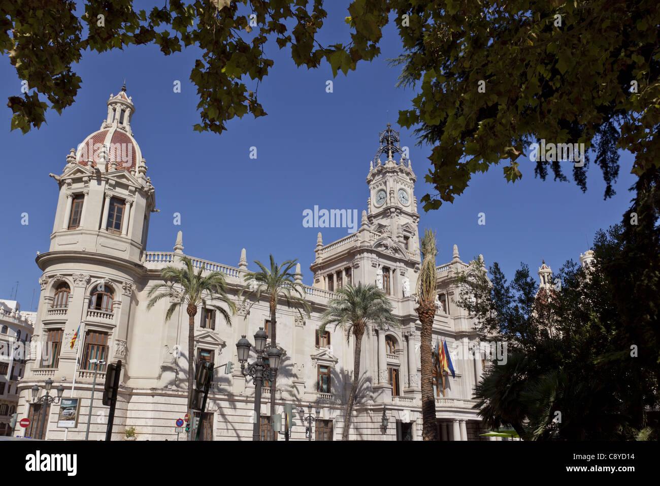 Plaza del Ayuntamiento, city hall at dusk, Valencia spain, - Stock Image
