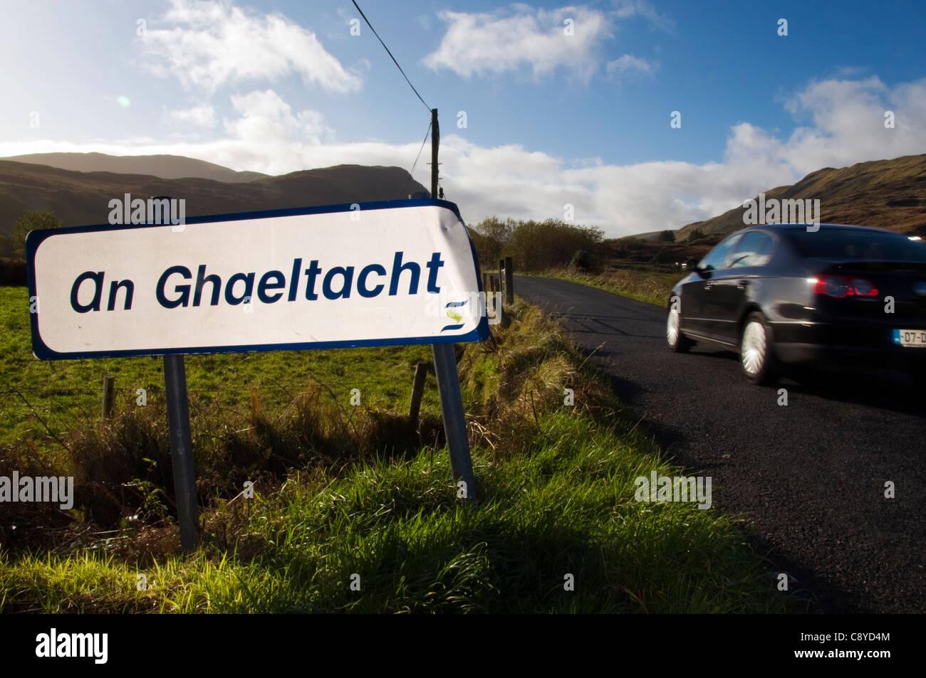An Ghaeltacht sign Irish gaelic language area - Stock Image