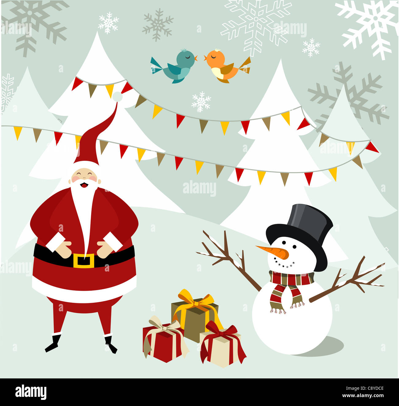 Santa Claus and snowman illustration celebrating Christmas with gifts in a snowy background. Vector file available. - Stock Image
