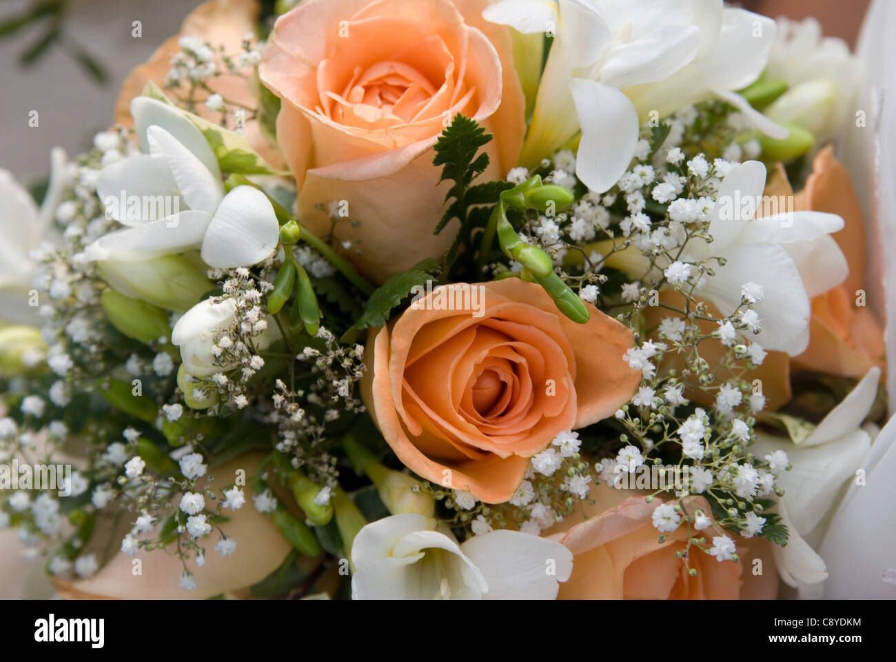 Peach White And Green Bridal Bouquets Stock Photo Alamy