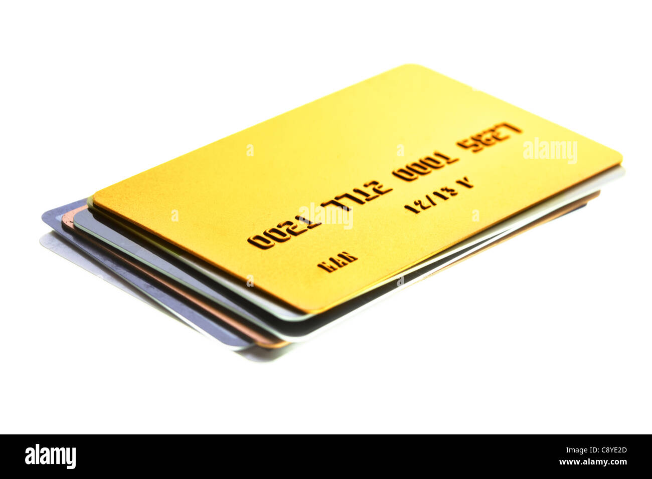 Pile of credit cards close-up. Shalow DOF! - Stock Image