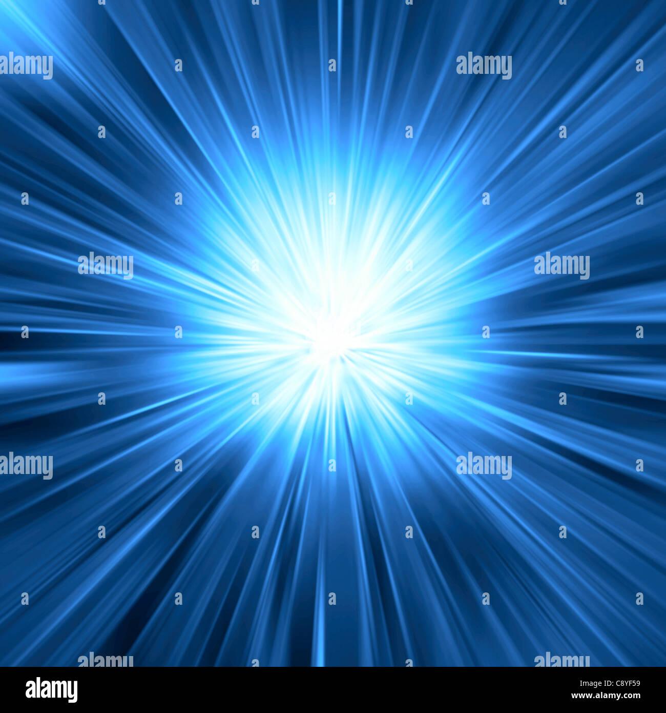 Blue light burst - Stock Image