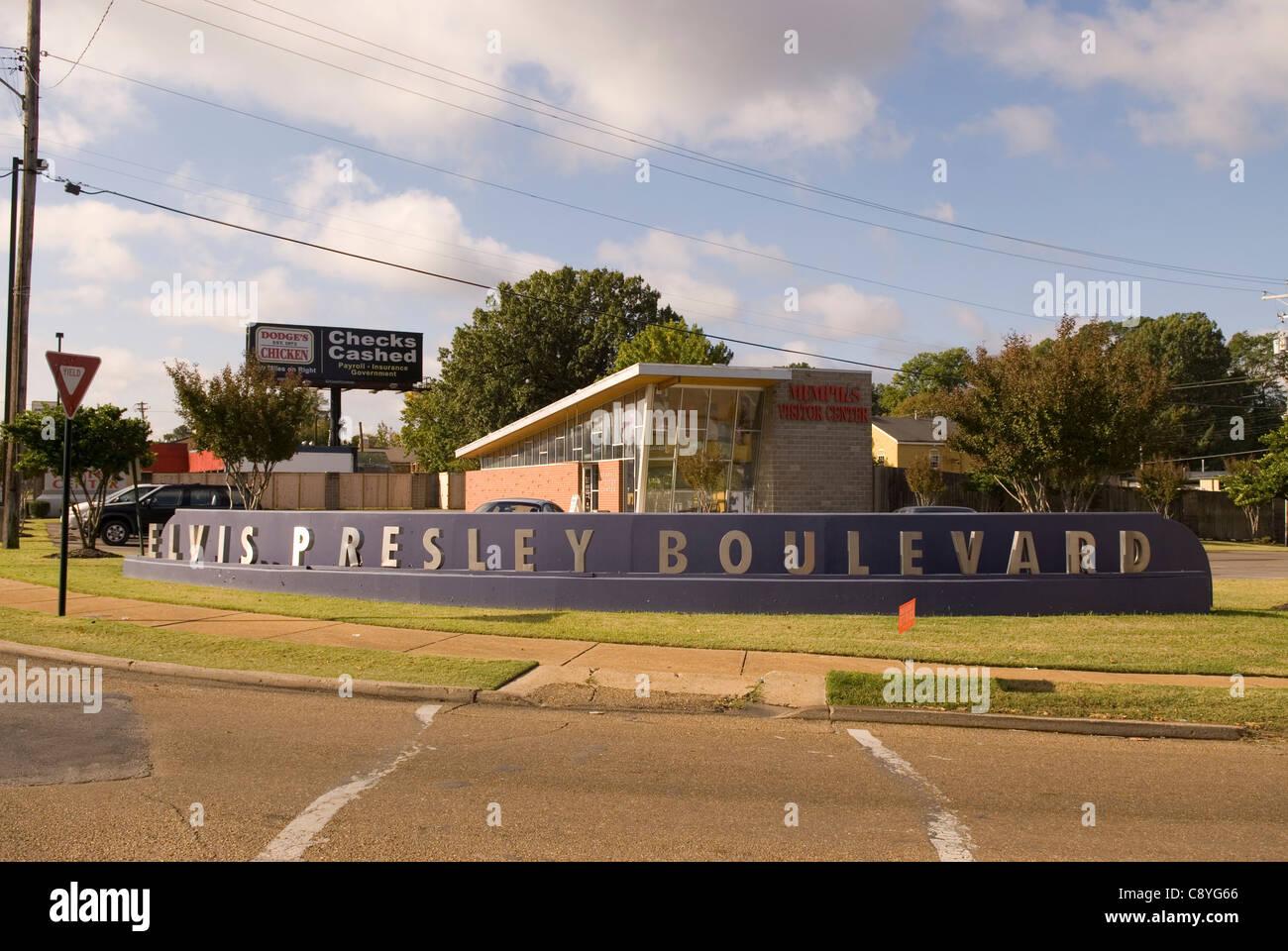 Elvis Presley Boulevard Memphis Tennessee USA - Stock Image