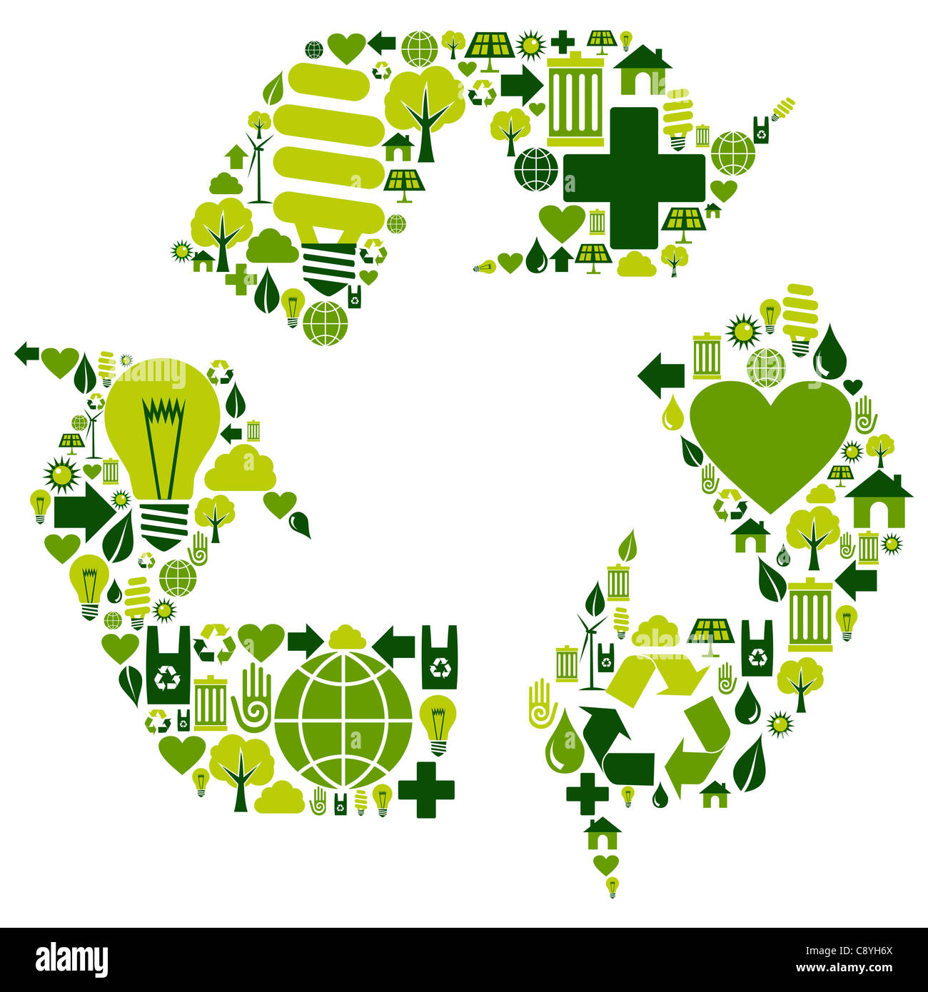 Recycle symbol with environmental icons . Vector file available. - Stock Image